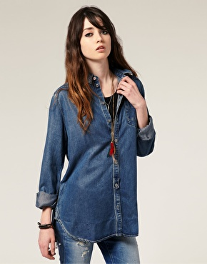 G star denim long line shirt perfect for nursing and breastfeeding