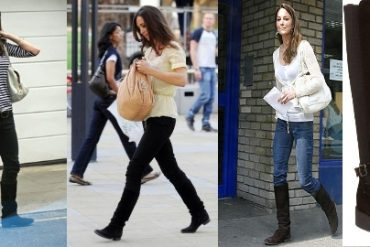 Kate Middleton casual fashion style black knee high boots
