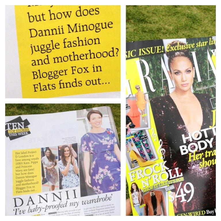 Fox in Flats in GRAZIA magazine interviewing Dannii Minogue