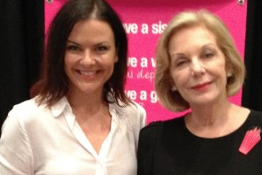 Ita Buttrose chats with Andrea Zanetich from Fox in Flats